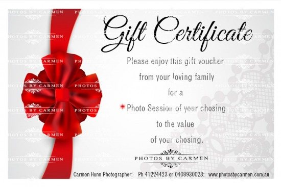 Choose your value or your photo session, it's a great gift for that difficult person/family to shop for.